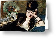 Lady With Fan Portrait Of Marie Anne De Callias Known As Nina De Callias Greeting Card
