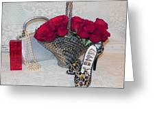 Purse Red Roses Jewelry Diamonds Greeting Card