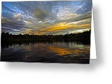 Lagoon Sunset In The Jungle Greeting Card