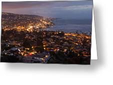 Laguna Beach City At Night Greeting Card