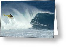 Laird Hamilton Going Left At Jaws Greeting Card by Bob Christopher