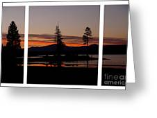 Lake Almanor Sunset Triptych Greeting Card