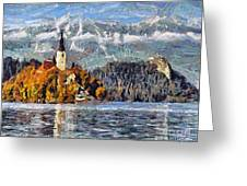 Lake Bled And Mountains Greeting Card