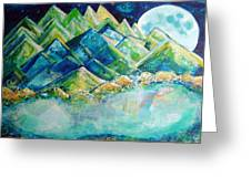 Lake By The Moon Light Greeting Card