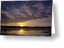Lake Cassidy With Mount Pilchuck Greeting Card