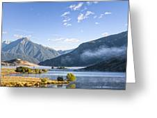 Lake Grasmere And Southern Alps Canterbury New Zealand Greeting Card