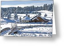 Lake House In Snow Greeting Card