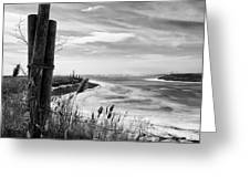 Lake Ice Bw Greeting Card