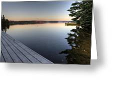 Lake In Autumn Sunrise Reflection Greeting Card