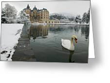 Lake In Front Of A Chateau, Chateau De Greeting Card