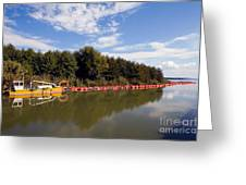 Lake Inlet With Dredger Greeting Card