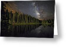 Lake Irene's Milky Way Mirror Greeting Card by Mike Berenson