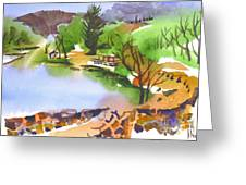 Lake Killarney With Rock Wall Greeting Card