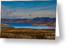 Lake Laberge And Surrounding Taiga In Fall Greeting Card