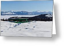 Lake Laberge Yukon Territory Canada In Winter Greeting Card
