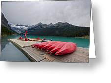 Lake Louise Canoes Greeting Card
