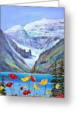 Lake Louise Poppies Greeting Card
