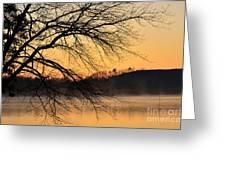 Lake Louise Sunrise Through The Trees Greeting Card