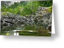 Lake Mcdonald Falls River Glacier National Park Greeting Card