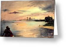 Lake Michigan Chicago Skyline 1952 Greeting Card