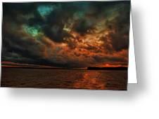Lake Murray Fire Sky Greeting Card