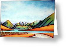Lake Pearson 1999 Si Nz Greeting Card by Barbara Stirrup