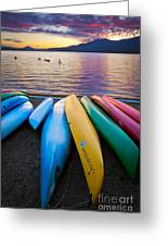 Lake Quinault Kayaks Greeting Card by Inge Johnsson