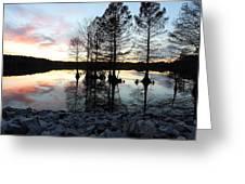 Lake Reflections At Sunset Greeting Card