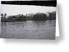Lake Resort Framed From A Houseboat Greeting Card