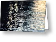 Lake Ripples In Blue At Sunset Greeting Card
