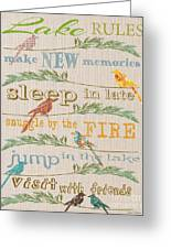 Lake Rules With Birds-c Greeting Card