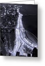 Lake Shore Drive Aerial  B And  W Greeting Card