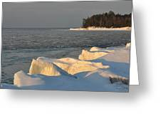 Lake Superior Winter Sunset Greeting Card