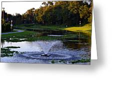 Lake With Fountain Greeting Card