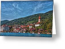 Lakefront Provincial Town Greeting Card