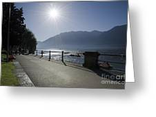Lakefront With Sun Greeting Card