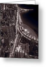 Lakeshore Drive Aloft Bw Warm Greeting Card