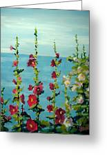 Lakeside Hollyhocks Greeting Card