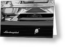 Lamborghini Rear View Emblem Greeting Card by Jill Reger