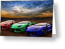 Lamborghini Triplet Greeting Card