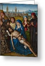 Lamentation With Saint John The Baptist And Saint Catherine Of Alexandria Greeting Card