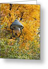 Lamp In The Autumn Leaves Greeting Card
