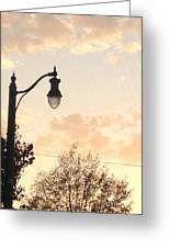 Lamp Post And Cotton Candy Sunset Greeting Card