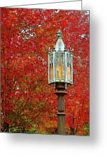 Lamp Post In Fall Greeting Card