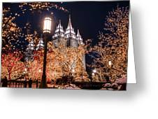 Lamp Post Slc Temple Greeting Card