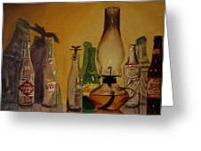 Lamp With Pop Bottles Greeting Card