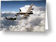Lancaster And Spitfire  Greeting Card