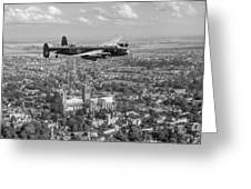 Lancaster City Of Lincoln Over The City Of Lincoln Black And White Greeting Card