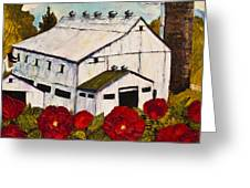 Lancaster Red Rose And Barn Greeting Card by Paris Wyatt Llanso