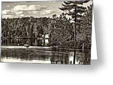 Land Of Lakes Sepia Greeting Card
